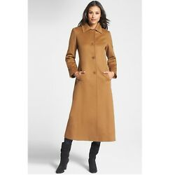 NEW $1950 Fleurette Size 2 Cashmere Long Tan Coat Point Collar Women's