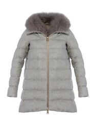 Herno Women's Silk And Cashmere Grey Hi Lo Coat With Fox Collar