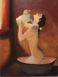 Acrylic Original Paintining Nude Woman Bathing