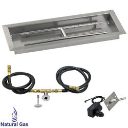 American Fireglass Rectangular Drop-In Fire Pit Kit Spark Ignition NG 24