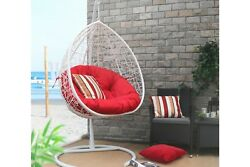 Oval Egg Hanging Patio Lounge Chair Porch Swing with Red Cushion Hammoc