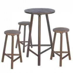 Rustic Wood Bar Table and Stools Set GardenPatioPorchOutdoorHome Furniture