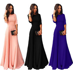 Womens Long Chiffon 34 Sleeve Cocktail Formal Party Prom Ball Gown Maxi Dress