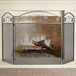 OpenBox Amagabeli 3 Panel Pewter Wrought Iron Fireplace Screen Outdoor Metal for