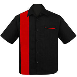 STEADY CLOTHING Poplin Single Panel Button Up Bowling Shirt Black Red S-3XL NEW
