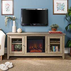 58-inch Driftwood Fireplace TV Stand With Doors