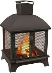 Outdoor Fireplace Wood Burning 26 Inch 360 Fire View Portable Contemporary Black