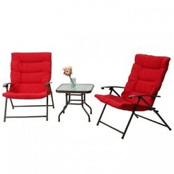 Lawn Chair 3 PC Set Patio Garden Padded Folding Reclining Outdoor Furniture NEW