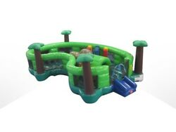 Commercial Vinyl Jungle Inflatable Bounce House Playland Playground with Blower