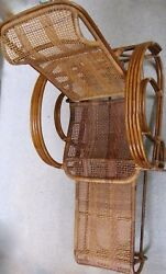 1920's Bamboo & Rattan Adjustable Lounge Chair with Attached Pull-Out Ottoman