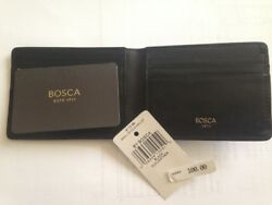 Bosca Men's Italian Black Leather Small Billfold Wallet