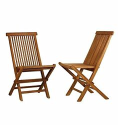 ALA TEAK 2 Piece Wood Indoor Outdoor Patio Garden Yard Folding Seat Chair