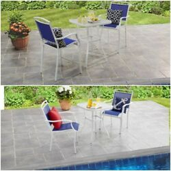 Patio Furniture Dining Bistro Set Glass Table w 2 Chairs Blue Outdoor Deck Pool