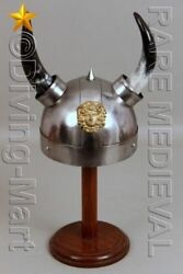 Viking Armor Helmet With Lion Crest Authentic Metal Replica With Horns MT466