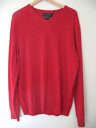 NWT Tahari Pure Luxe 100% Cashmere Men's Handsome Red V Neck Sweater XL $245