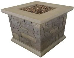 Fire Pit Outdoor Table Propane Gas 34 Square Stainless Steel Burner Brown Stone