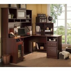 Computer PC Desk Workstation Table W Hutch Home Office Furniture Wood Laptop