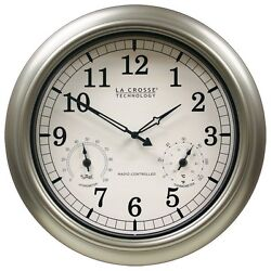 Outdoor Thermometer Clock Large Wall Weather Humidity Hygrometer Atomic Garden $143.95