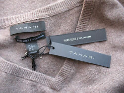 NWT Tahari Pure Luxe 100% Cashmere Men's Handsome Brown V Neck Sweater XL $245