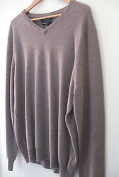NWT Tahari Pure Luxe 100% Cashmere Men's Handsome Brown V Neck Sweater M $245