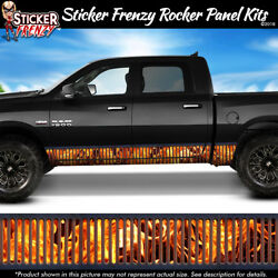Flame Metal Grate Rocker Panel Vinyl Decal Vehicle Graphic Truck Car Fire Grill