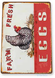 TIN SIGN Eggs Farm Fresh Kitchen Cottage Farm Rustic Metal Décor B983 $8.95