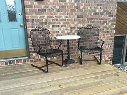 (3) Vintage Woodard Style Wrought Iron Patio Sling Chairs w Table