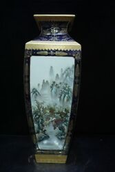 Chinese Exquisite Handmade landscape pattern porcelain painting gold vase