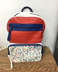 CHRISTIAN LOUBOUTIN Backpack White Red  Blue Multi Leather Backpack