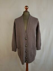 HERMES Scottish Cashmere Boyfriend Cut Button Front Cardigan Size 36 Womens