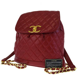 Authentic CHANEL CC Logos Quilted Chain Backpack Bag Leather Red Italy 613X022
