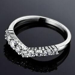 Silver Heart Crown Band White Gold Filled Diamond Crystal Women Wedding Rings