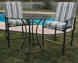 Brown Jordan BarBistro 3 Pieces Outdoor Patio Table And 2 Chairs WCushions