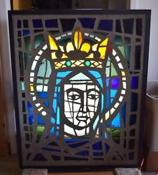 Older 1960s Thick Chunk Glass Stained Glass Window in Light Box - Jesus (CU1017)