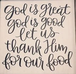 GOD IS GREAT GOD IS GOOD THANK HIM FOR FOOD Kitchen Wall Decal Rustic Decor $9.95