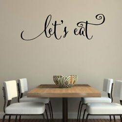 LET#x27;S EAT Kitchen Dining Wall Words Lettering Quote Decal Sticker Rustic Decor $9.95