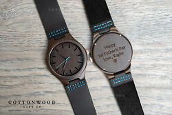 Mens Personalized Wooden Watch Leather Band Fathers Day Gift Mens Wood Watch $59.95