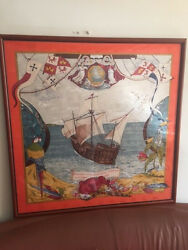 Hermes France Framed JACQUARD SILK Scarf Columbus Discovery America Coral Red