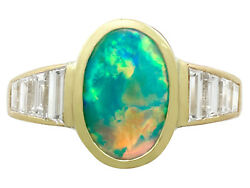 Vintage French 1.40 ct Opal 1.12 ct Diamond 18k Yellow Gold Dress Ring