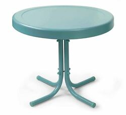 Front Porch Furniture Patio Accent Table Lawn Blue Metal Round Chair Side End