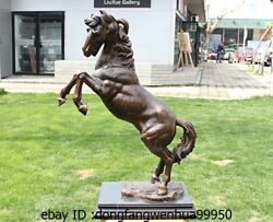 28 Western Pure Bronze Copper Marble Art Decoration Run Horse Statue Sculpture