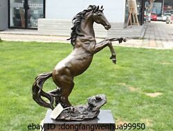 20 Western Pure Bronze Copper Marble Art Decoration Run Horse Statue S