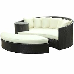Patio Furniture Sofa Bed Round Outdoor Cushion Blue Set Arm Side Table Poolside