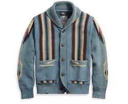 RRL Ralph Lauren Vintage Inspired Washed Cotton Blend Indigo Dyed Cardigan-MEN-L