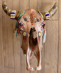 Unique Cow Skull South Western USA Hand Painted Original Design Copper Base Coat