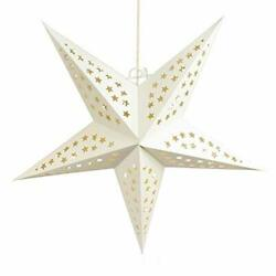 Quasimoon 24quot; Solid White Cut Out Paper Star Lantern Hanging Decoration by P... $5.73