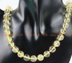 10mm  Handmade Beautiful Pure yellow  crystal  gemstone Necklace  18