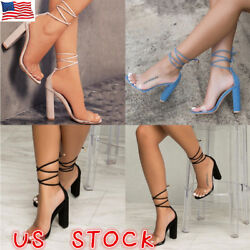 Womens High Block Heel Ankle Strappy Transparent Peep Toe Lace Up Sandals Shoes