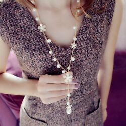 Fashion Pearl Flower Pendant Necklace Women Lady Long Sweater Chain Jewelry Gift