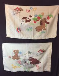 Vintage POUND PUPPIES! Pair Of 2 Pillow Cases 1985 - Lovable Huggable Dogs!